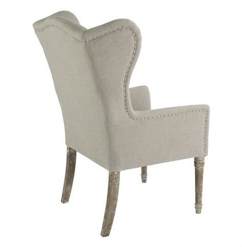 Wing Back Dining Chairs Eli Country Wing Back Dining Occasional Chair Linen Kathy Kuo Home