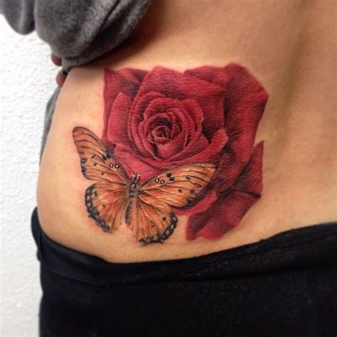 rose tattoo with butterfly gorgeous and butterfly tattoos