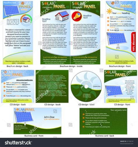 solar panel packages solar panel stationary brochure design cd cover design and business card design in one