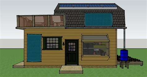 112 square feet off grid tiny house with folding porch roof misty robinson s 16x25 off grid house simple solar