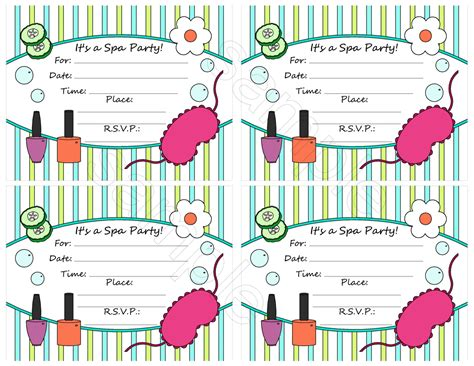 spa birthday invitation template unavailable listing on etsy