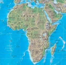 africa map geography physical map of africa rivers terrain forests and countries