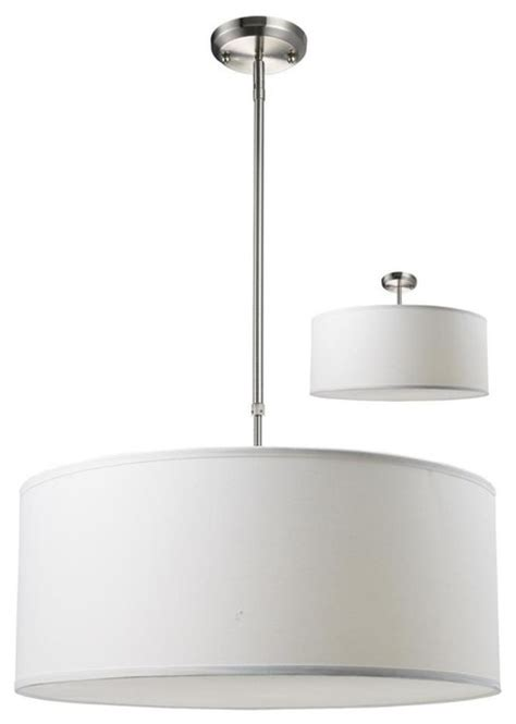 Modern White Nickel Drum Shade Three Light Brushed Nickel White Linen Shade Drum Shade