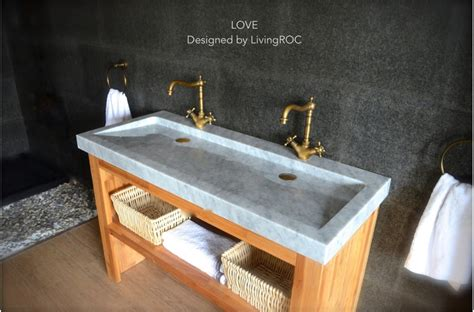 47'' Double Marble Trough Carrara White Bathroom Sink LOVE
