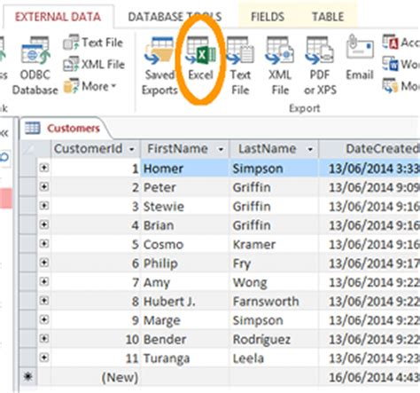 tutorial excel 2013 database export access 2013 database to excel