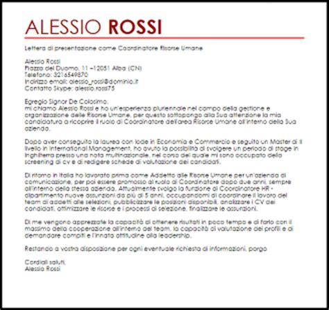 esempi di lettere personali esempio lettera di presentazione coordinatore risorse