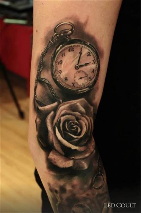 rose body tattoo arm realistic clock flower by led coult
