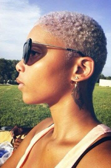 short platium afro natural hair big chop twa platinum blonde color curls