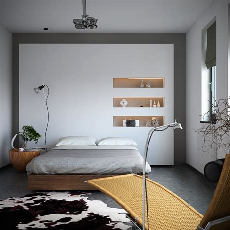 organic bedroom organic meets industrial bedroom with monochrome cowhide rug storage niches and earthy styling