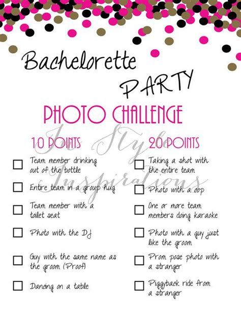 braut challenge bachelorette party game photo challenge pink and gold