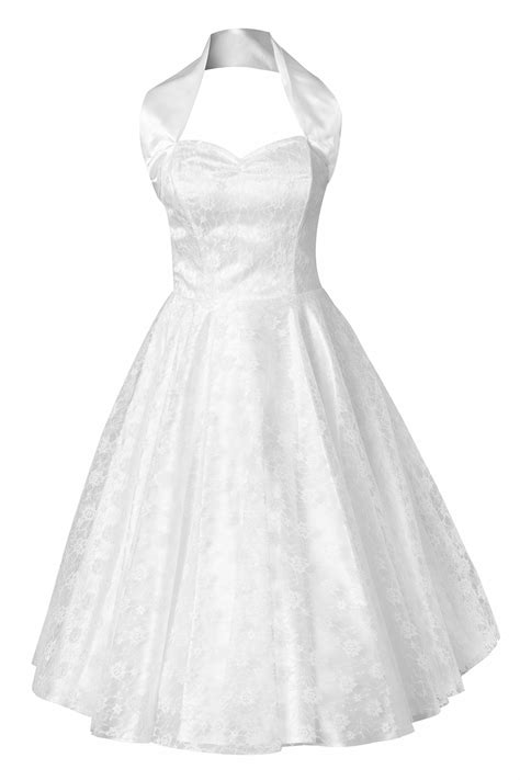 swing wedding dress 50s retro halter luxury white satin lace swing dress