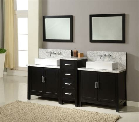 Two Vanities In Bathroom J J International 84 Quot Horizon Sink Vanity White Marble Countertop