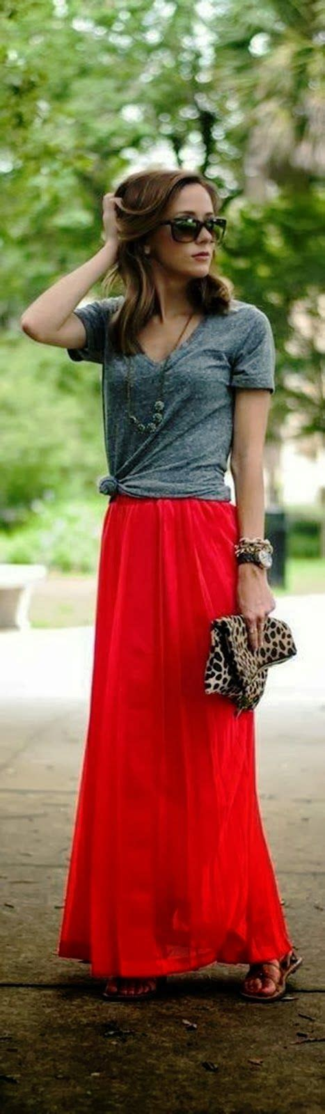 gray blouse with flowy maxi skirt my style