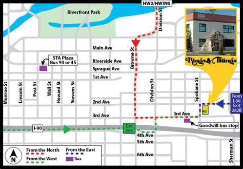spokane map downtown  travel information