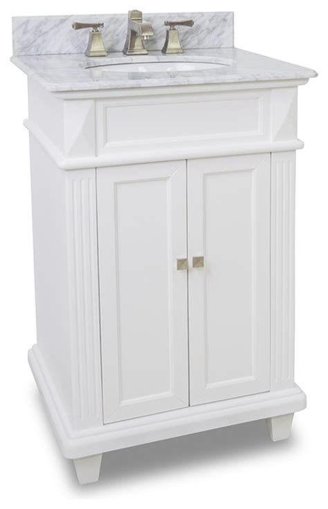 small white bathroom vanity with marble top and sink 24