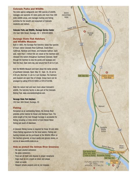animas river map official tourism site of durango colorado