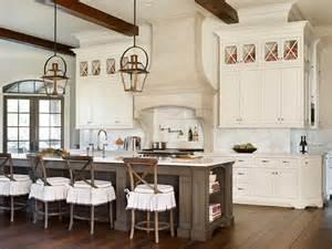 beautiful Center Island Designs For Kitchens #3: copper-lanterns-taupe-kitchen-island-cream-stone-hood-stove-spice-niche.jpg
