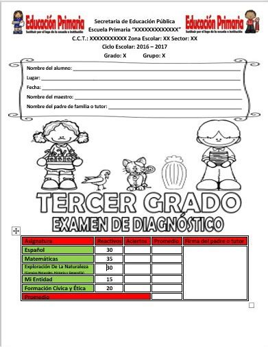 examen de tercero de primaria 2016 2017 examen de diagn 243 stico del tercer grado del ciclo escolar