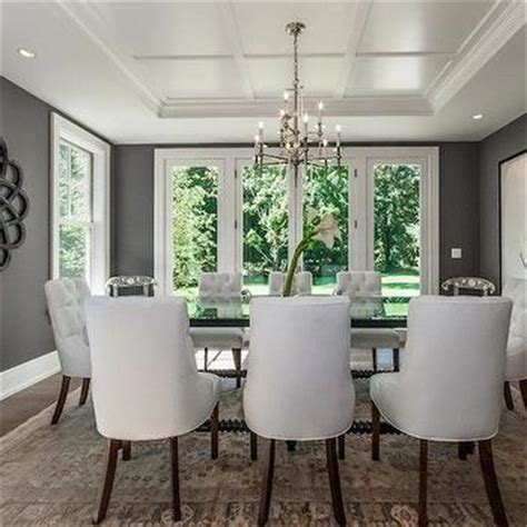 Gray Dining Room With Tray Ceiling Charcoal Gray Paint Color Eclectic Dining Room