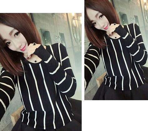 Linen Blouse Striped Atasan Baju Wanita Bliski Blouse baju atasan wanita panjang blouse stripe belang murah