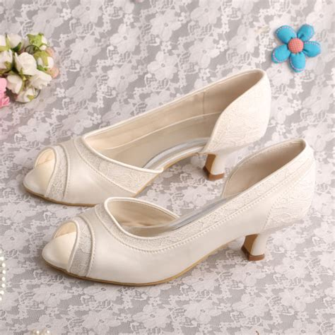 Satin Pumps Wedding by White Satin Fabric Pumps Low Heeled Ivory Shoes