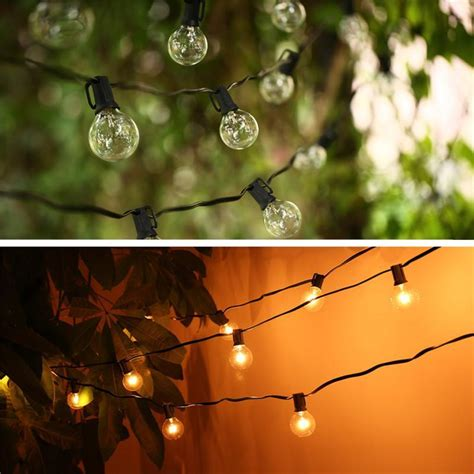 Hanging Patio String Lights String Lights With 25 G40 Globe Bulbs Ul Listed For Indoor Outdoor Commercial Outdoor Hanging