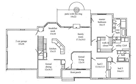 Ranch House Floor Plan by House Plans New Construction Home Floor Plan