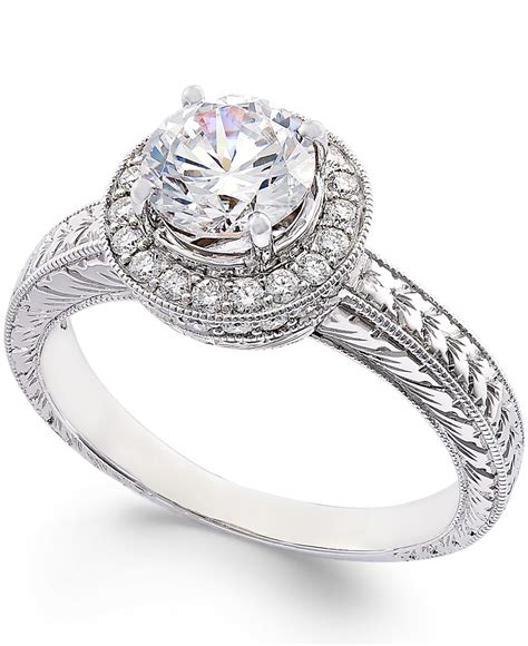 macy s certified engagement ring in 18k white gold