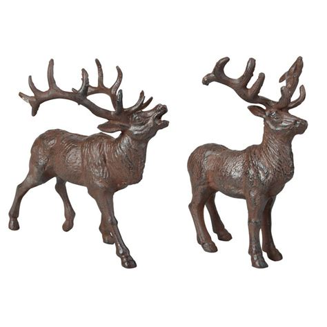 cast iron stag reindeer sculpture ornament by garden