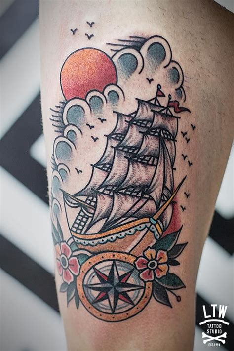 traditional pirate ship tattoo school ship tattoos