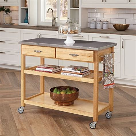 Kitchen Island Rolling Rolling Kitchen Island With Stainless Steel Top