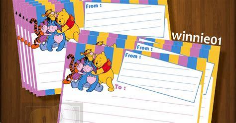 desain kartu nama kosongan sticker label pengiriman motif winnie the pooh kosongan