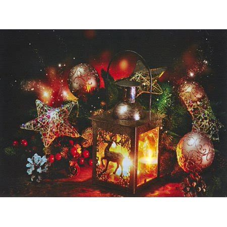 lighted canvas with timer battery operated led lighted reindeer candle lantern
