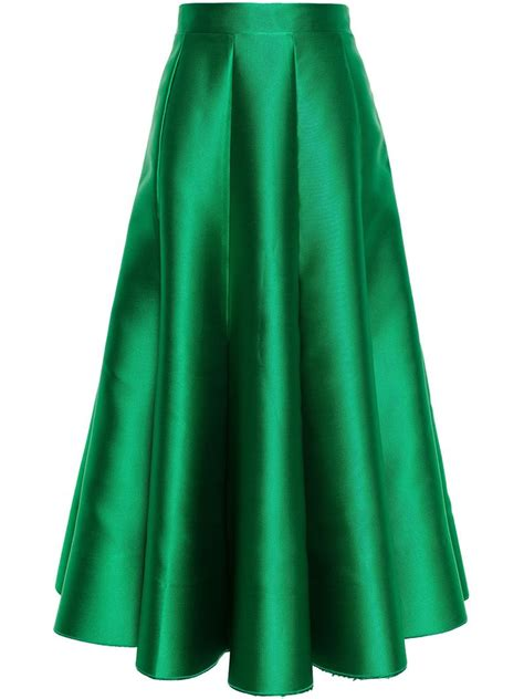 zinko satin midi skirt in green lyst