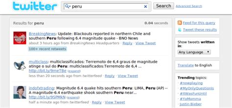 earthquake twitter earthquake rattles peru tweets pour in