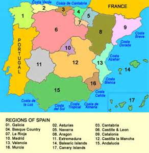 Regions Of Spain Map by Regions Provinces And Comarcas Of Spain