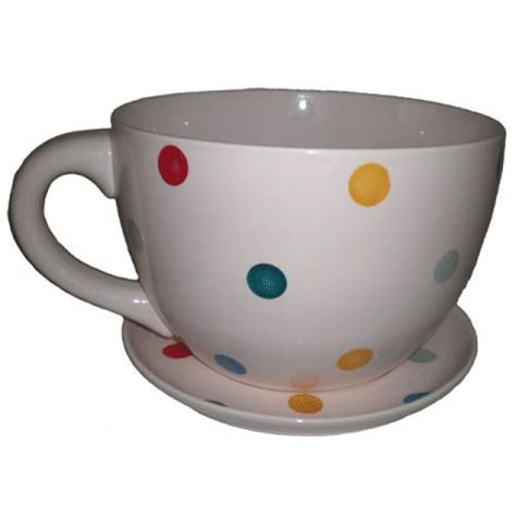 Tea Cup Planter by With Multi Coloured Spots Tea Cup And Saucer