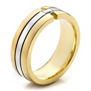 men two tone gold and wedding band 100146