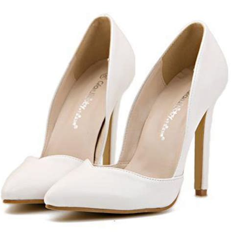 Stiletto Shoe Chairs White High Heel D Orsay Pointed Toe Court Shoes