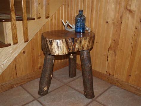 oak log slice table handmade rustic hardwood log