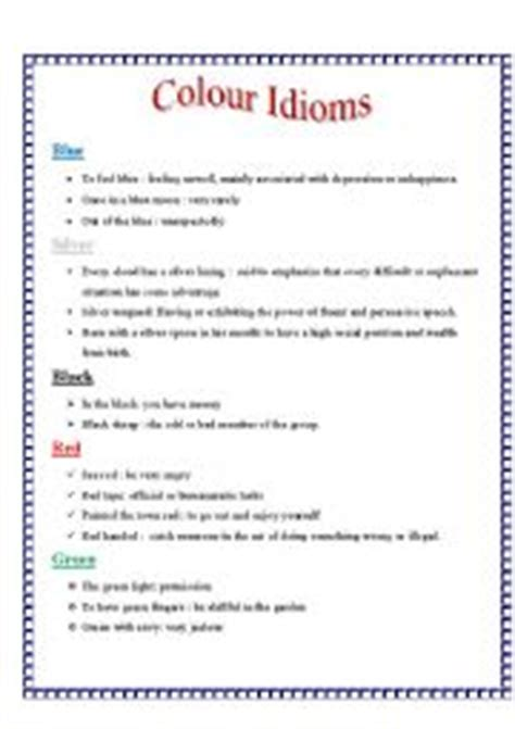 color idioms english teaching worksheets colour idioms