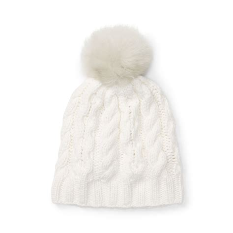 white cable knit hat club monaco cm28 mpatmos cable knit hat in white lyst