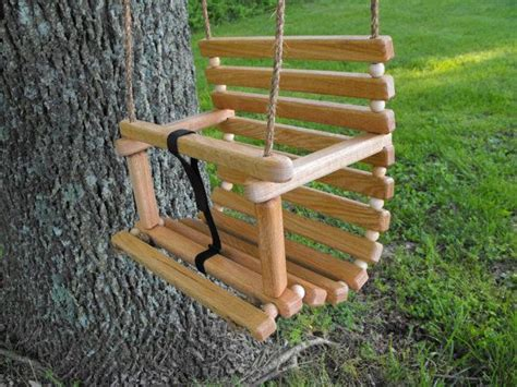 tree with a toddler rope tree swing handcrafted oak for child by