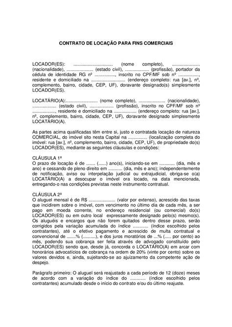 Contrato de locaçao comercial - Modelo de contrato - Docsity