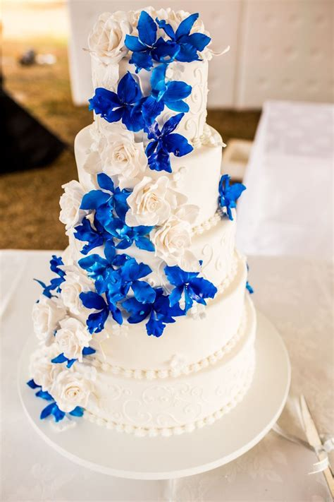 blue wedding cakes with flowers blue orchid wedding cake wedding cakes