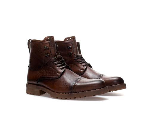 brown boat shoes zara zara dress brogue boot in brown for men lyst