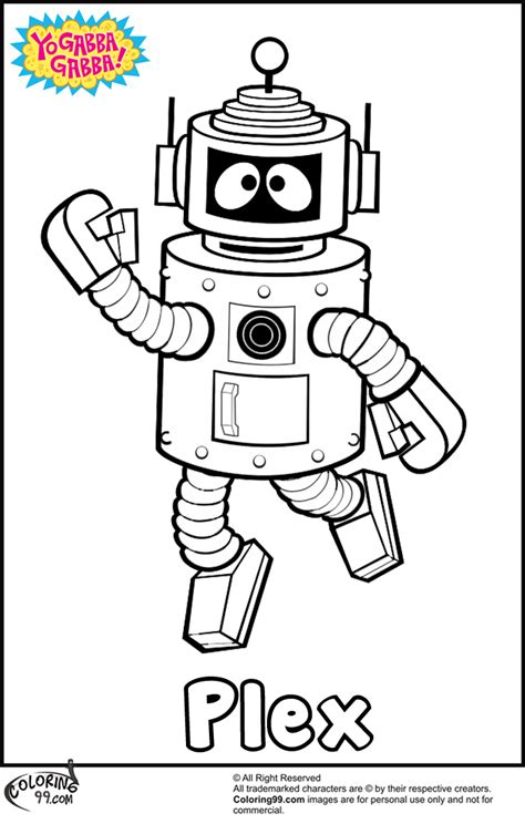 Yo Gabba Gabba Coloring Pages yo gabba gabba plex coloring pages team colors