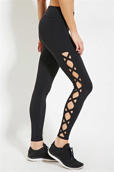 Legging Hitam Forever New forever 21 active crisscross side in black lyst