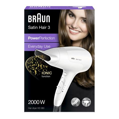 Braun Hair Dryer Hd710 braun satin hair 3 powerperfection hd 380 hair dryer 2000w ionic white genuine ebay