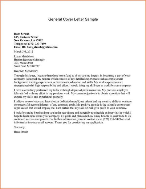 Exle Cover Letter For Resume General by 5 Exles Of Cover Letters For Resumes Cover Letter Exles